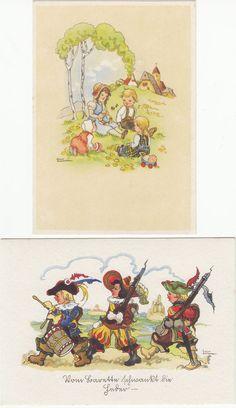 2 x Künstler AK LIESEL LAUTERBORN um 1945 Kinder auf einer Wiese ( 99342 in Sammeln & Seltenes, Ansichtskarten, Motive | eBay