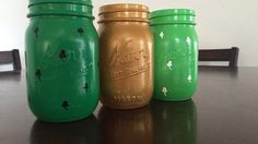 Handmade Mason Jars just in time for St. Patty's Day! $15/set. Thanks for looking! Jessie
