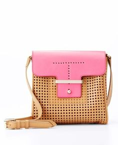 Colorblock Perforated Leather Mini Bag
