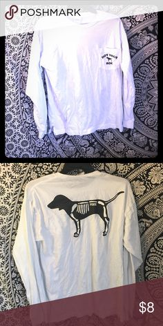 Victoria's Secret long sleeve t-shirt Long sleeve white Halloween dog top. Worn once PINK Victoria's Secret Tops Tees - Long Sleeve