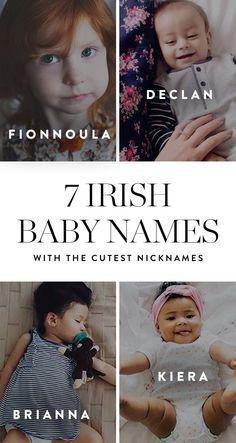 7 Irish Baby Names with the Cutest Nicknames via @PureWow Irish Baby Girl Names, Trendy Baby Boy Names, Baby Names 2018, Southern Baby Names, Cute Girl Names, Rare Baby Names, Irish Names, New Baby Names, Unisex Baby Names