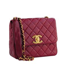 Authentic vintage Chanel from Resurrection Vintage Deep Red Maxi Bag