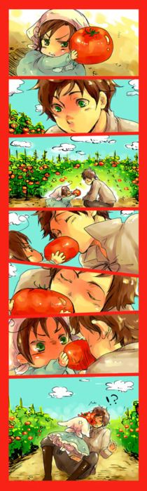 Making out with a tomato in front of a child. Nice.