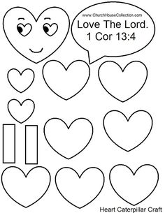 heart caterpillar valentines day craft for sunday school kids love the lord 1 cor 13 - Printable Preschool Crafts