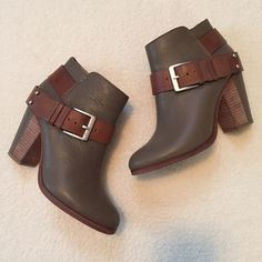 """✨️FLASH SALE✨Coach Leather Heeled Booties Size 6 Excellent condition leather booties by Coach. Size 6. Aprroximate 3.5"""" heel, half stacked/ half leather. Silver hardware. Color is a sort of taupe, almost olive with natural leather straps. Inside side zipper. Minor wear, mainly on bottoms as shown. Bought from another posher but haven't gotten around to wearing & they have been sitting in my closet ever since. Just trying to get close to what I spent plus shipping. Feel free to make an offer…"""