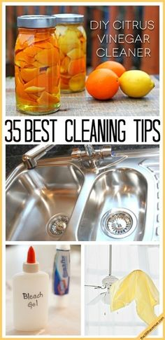 Cleaning Tips : These 35 tips and cleaning recipes for the home are awesome! Start spring cleaning with these tips and tricks.