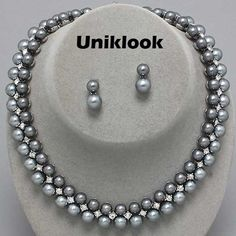 Platinum Grey Pearl Clear Crystal Silver Choker Elegant Jewelry Necklace Set