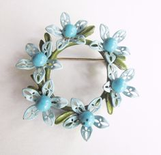Vtg ENAMEL FLOWER Power BROOCH Round PIN Blue Green RETRO MOD JEWELRY 1960s/70s