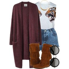 A fashion look from November 2013 featuring Acne Studios cardigans, Miss Selfridge shorts and Minnetonka boots. Browse and shop related looks.