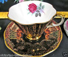 QUEEN ANNE TEA CUP AND SAUCER BLACK & GOLD CHINTZ PATTERN TEACUP PINK ROSE