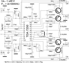 BSS elektronika - HF erősítő TDA7250 IC-vel (2x130W)