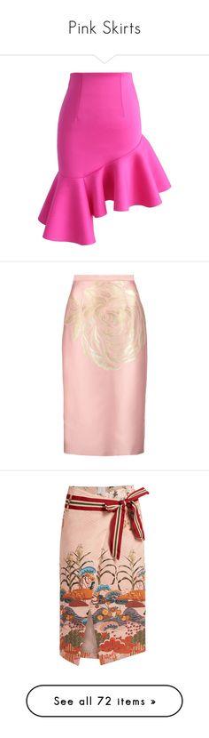 """""""Pink Skirts"""" by kikikoji ❤ liked on Polyvore featuring skirts, pink, ruffle slip skirt, hot pink skirt, frilly skirt, asymmetrical ruffle skirt, ruffle slip, юбки, blush and metallic skirts"""