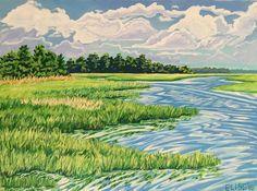 Boat Wake On The Ashley | Elise Nuckols Art | Acrylic on birch panel