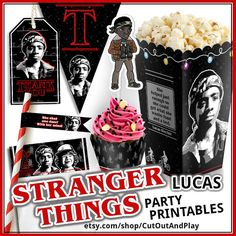 Stranger things party printables. Dustin. Movie themed birthday decorations and printable party favors for fun. Stranger things birthday, birthday banner, party supplies, cupcake toppers, cupcake wrappers, Eleven, Eggos, Mike Wheeler, Lucas, Dustin, Nancy, Johnathan, Barb.