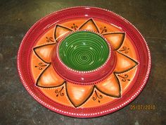 Ceramic painted chip and dip in a Mexican look