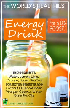 The World's Healthiest Energy Drink Recipe - No Additives Or Chemicals - - Most store bought energy drinks contain harmful chemicals and additives. You can whip up the healthiest energy drink in just 2 minutes. It is delicious too. Juice Smoothie, Smoothie Drinks, Detox Drinks, Smoothie Recipes, Drink Recipes, Cleanse Recipes, Smoothie Powder, Chia Drink, Detox Juices