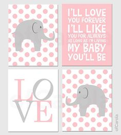 Baby Girl Nursery Elephant PERSONALIZED Wall Art Print - Child Animal Wall Print, Choose Colors - Pastel Pink Grey White Colors - 8x10 inch on Etsy, $50.00