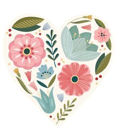 valentinesday aquarell Heart of Flowers. Illustrated by Clare Owen. Represented by Art Inc. Heart Illustration, Pattern Illustration, Botanical Illustration, Digital Illustration, Floral Illustrations, Heart Art, Watercolor Flowers, Flower Art, Vector Art