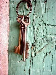 Vintage inspired photography France photograph set of old keys cyan blue pink mint green pastel old wooden door vintage keys photograph =