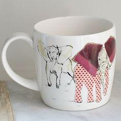 Anna Wright a heard of elephants york shaped fine bone china mug Anna Wright, China Mugs, Mixed Media Collage, Elephants, Bone China, Textiles, York, Shapes, Design