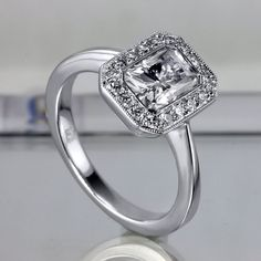 Diamond and Moissanite Halo Engagement Ring  by LetisiasCorner, $1550.00