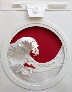 washing machine, Japanese wave art, Love the creative use of the wave! Jeff Nishinaka, combinando la escultura y el papel Kirigami, 3d Paper Art, Paper Artwork, Architecture Origami, Poster Design, Book Design, Design Ideas, Design Art, Paper Illustration