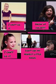 this is not fair chloe is the best dancer ever abby is stupid for thinking this maddie is no angle i have nothing against maddie but shes not jesus i think abby lee miler should get a brain
