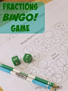 Math games 22095854408743742 - This printable Fraction BINGO game is a fun hands-on way to learn about fractions! SEE what a fraction represents and introduce the concept of equivalent fractions with this fun Bingo Fractions game! Math Fraction Games, Math Games For Kids, Math Activities, Dice Games, Math Bingo, Kids Fun, Student Games, Fraction Rules, Fraction Art