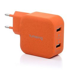 Lumsing® Cargador USB portátil de pared 2 Puertos USB (17W / 5V 3.4A) Wall charger, Enchufe europeo para iPhone 6splus / 6s / 6 / 5s / 5, iPad, iPod, Samsung Galaxy, HTC, Nokia, Nexus, Motorola, Blackberry, Nook, Otros dispositivos (Naranja) - http://www.tiendasmoviles.net/2015/10/lumsing-cargador-usb-portatil-de-pared-2-puertos-usb-17w-5v-3-4a-wall-charger-enchufe-europeo-para-iphone-6splus-6s-6-5s-5-ipad-ipod-samsung-galaxy-htc-nokia-nexus-motorola/