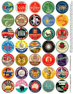 LUGGAGE LABELS, 1.5 inch Circles (Can adjust to be 1 or 1.25 inch.) Vintage Worldwide - American Travel Stickers, Digital Collage Sheet 003.