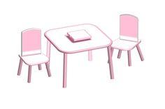 Table et 2 chaisesRose et blanc