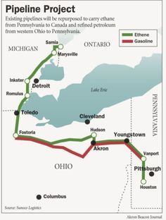 Mariner West ethane pipeline route through Ohio into Michigan and eventually to Sarnia, Canada