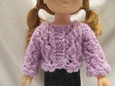 Sweet Little Lavender Sweater for 14'' or 14 1/2'' Dolls, Fits Hearts for Hearts or Wellie Wishers Dolls, Cute Open Stitch Doll Outer Wear by SewManyThingsbyNancy on Etsy