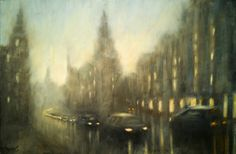 Nightfall in Budapest 36 x 55 cm // 14.1 x 21.6 inches Oil on fiberboard Available