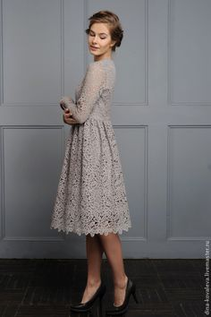 Купить Серое кружевное платье из хлопка - серый, кружево, гипюр, кружевное платье, барышня, нежность