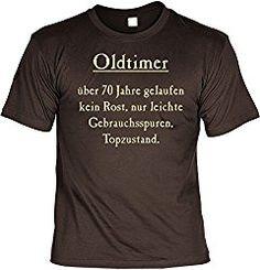 """Das Geschenk T-Shirt mit Urkunde – Oldtimer – Über 70 Jahre ist ein lustiges Geschenk zum 70. Geburtstag für Männer. Auf dem Shirt ist der Spruch """"Oldtimer über 70 Jahre gelaufen …"""