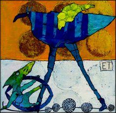 Elke Trittel acrylics,collage on board 20x20cm