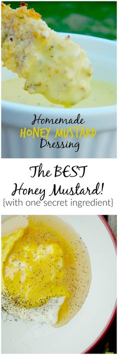 The BEST Homemade Honey Mustard Dressing with one secret ingredient! Copycat Recipes, New Recipes, Cooking Recipes, Sauce Recipes, Chicken Recipes, Recipies, Salad Dressing Recipes, Salad Dressings, Honey Mustard Dressing