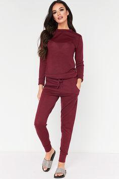 Roberta Wine Loungewear Set at misspap.co.uk