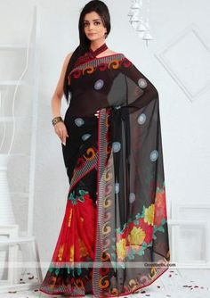 Enhance your elegance with this gorgeous black and red saree. Contrast dots and floral prints seems pretty. It will look good for evening parties. $35.00 http://goodbells.com/saree/designer-pattern-black-shade-saree.html
