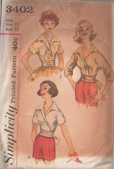 MOMSPatterns Vintage Sewing Patterns - Simplicity 3402 Vintage 60's Sewing Pattern MARVELOUS Rockabilly Mad Men Summer VLV Wrap Around Big Collared Kimono Sleeve Blouse, Shirt Set With Attached Obi Belt