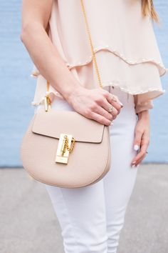 OOTD - White and Peach + Chloe Drew bag in Cement Pink