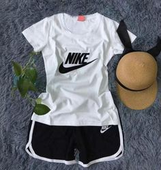 """""""Nike"""" Print Short sleeve Top Shorts Pants Sweatpants Set Two-Piece Sportswear from Nike Shorts Outfit, Cute Nike Outfits, Chill Outfits, Sporty Outfits, Athletic Outfits, Teen Fashion Outfits, Cute Casual Outfits, Summer Outfits, Gym Outfits"""