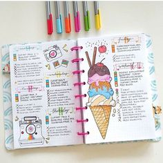 I love this spread! It is from @nicoles.journal and it is the cutest!! Check out their #bujo spreads!