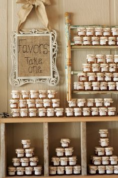 """Cute little jars filled with """"whatever you want"""" as favors"""