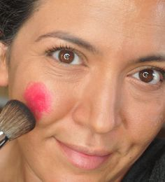 LIPSTICK CREAM BLUSH. Avoid dry formulas that stick in crevices, and go with cream formulas.  Experiment with using a peach, pink, or red lipstick as blush. You should only need a dot or two, especially if the lipstick is rather bright. Start by placing it further away from your nose than you would powder blush. Blend well with fingers, and finish it off with a little brush blending.