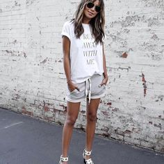 03.12.16 A little sporty; a little posh. ❤️ / Tee + Lux Jogger Shorts: shopsincerelyjules.com