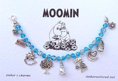 The bracelets feature slightly different beads, charms and fastenings, but they all have the Moomin charm in the centre. Cute and pretty Handmade Moomin themed charm bracelet. A perfect gift for any Moomin fan.   eBay!