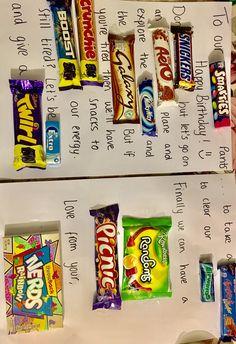 Birthday idea using chocolates and sweets