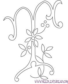 Monogram for Hand Embroidery - the letter T...could use for quilling and there are different styles of monograms